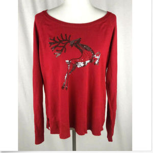 Womens Holiday Christmas Sweater Red w/ Reindeer L